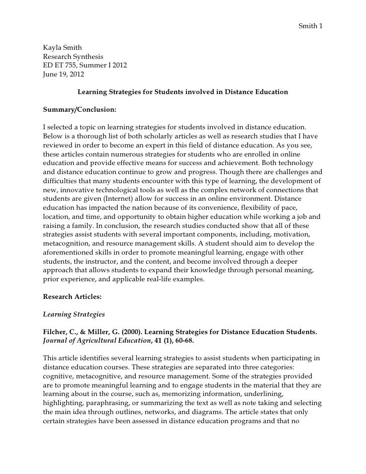 Smith 1Kayla SmithResearch SynthesisED ET 755, Summer I 2012June 19, 2012           Learning Strategies for Students invol...