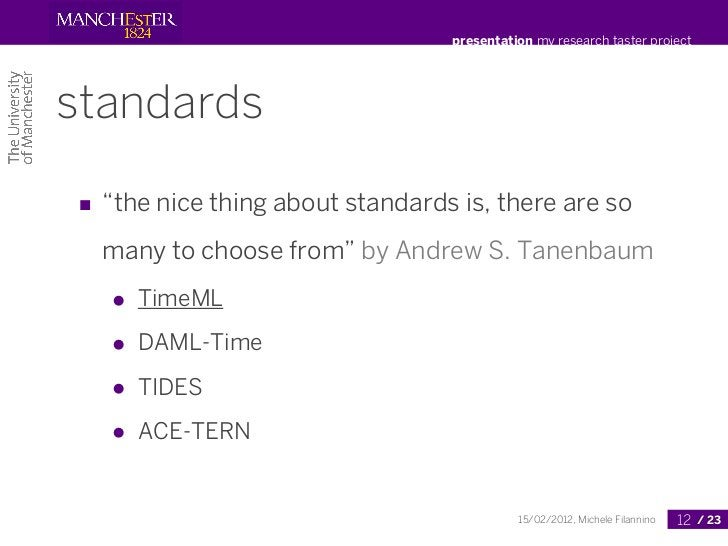 """presentation my research taster projectstandards■ """"the nice thing about standards is, there are so  many to choose from"""" b..."""