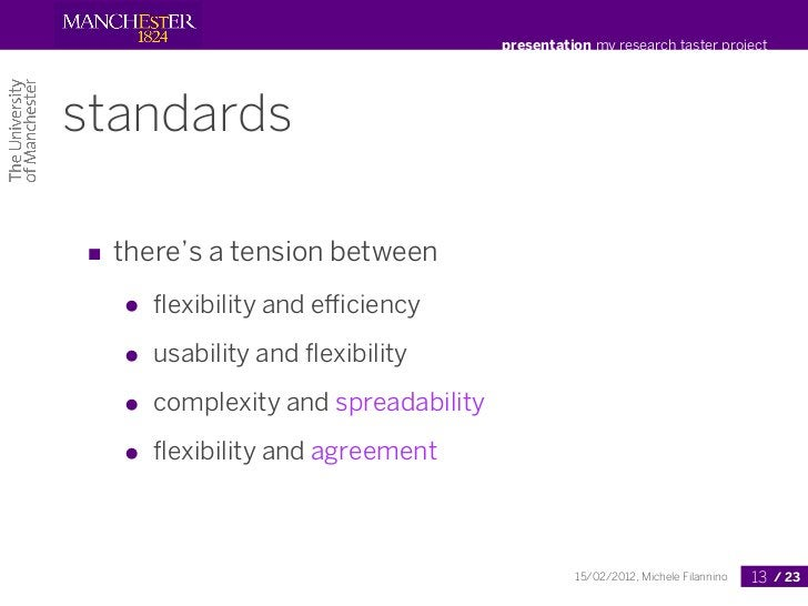 presentation my research taster projectstandards■ there's a tension between   ●   flexibility and efficiency   ●   usability...