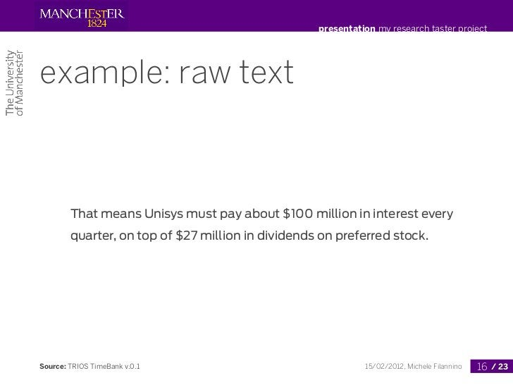 presentation my research taster projectexample: raw text        That means Unisys must pay about $100 million in interest ...