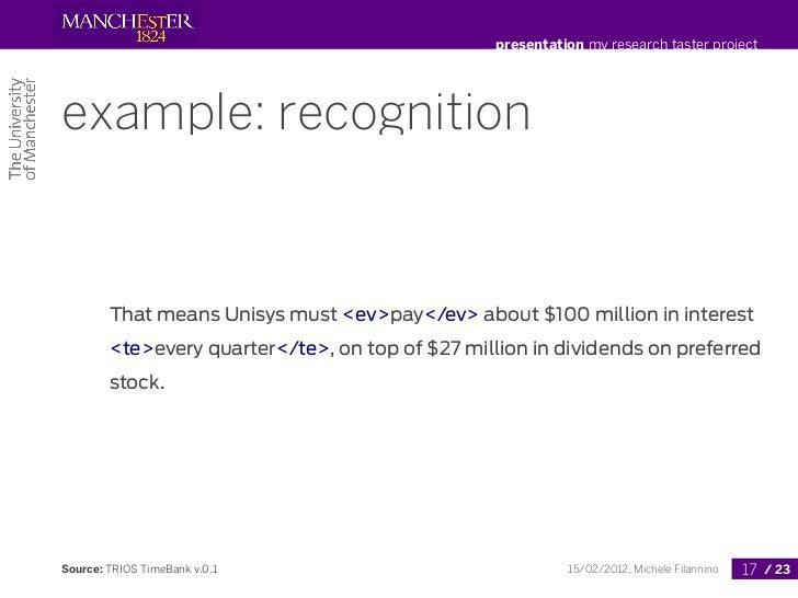 presentation my research taster projectexample: recognition        That means Unisys must <ev>pay</ev> about $100 million ...