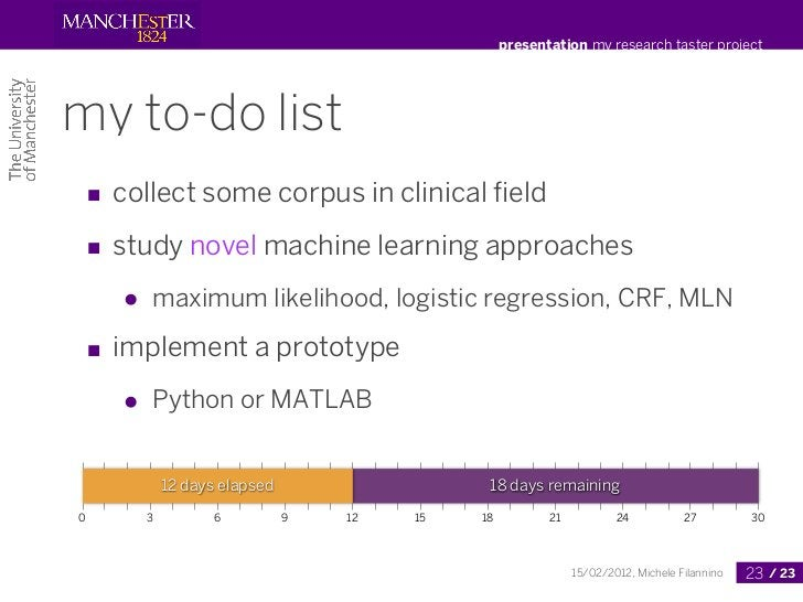 presentation my research taster projectmy to-do list ■ collect some corpus in clinical field ■ study novel machine learning...