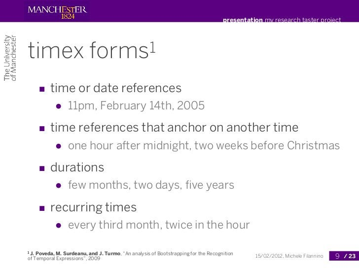 presentation my research taster projecttimex                     forms1       ■ time or date references            ●    11...