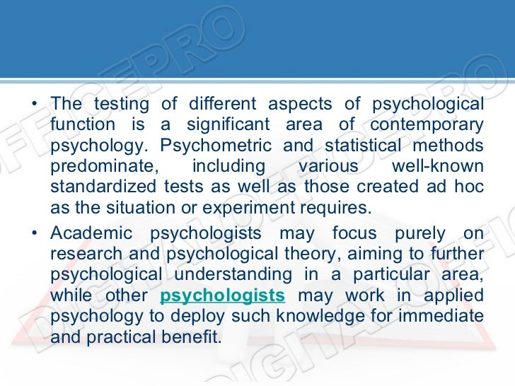 Areas of Psychology Research and Application - Psychology ...