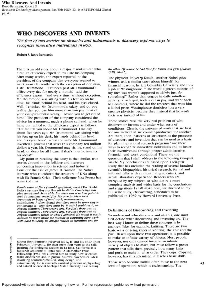 Who Discovers And InventsRoot-Bernstein, Robert S.Research Technology Management; Jan/Feb 1989; 32, 1; ABI/INFORM Globalpg...