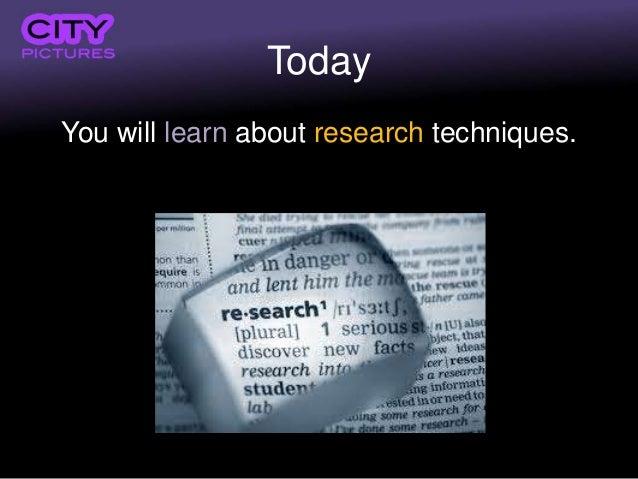 Research methods & techniques: Final Major Project Slide 3