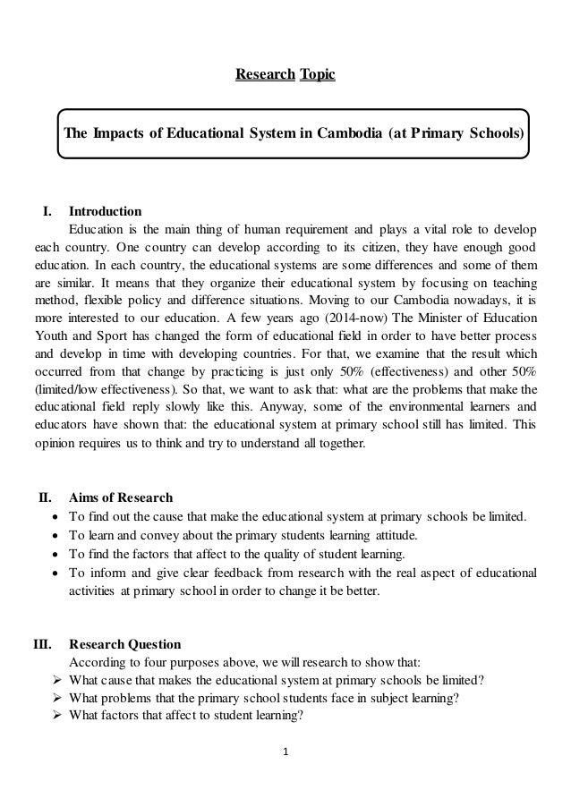 primary school research topics