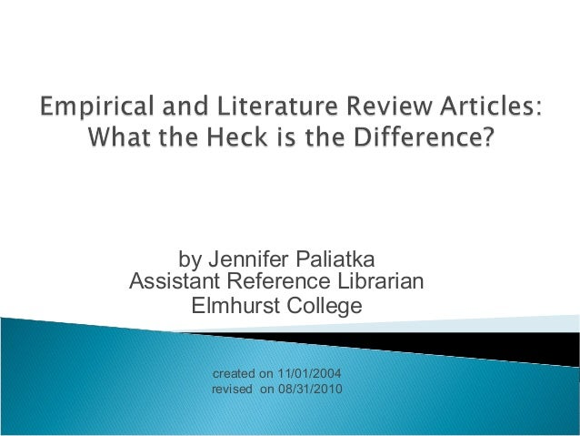 by Jennifer Paliatka Assistant Reference Librarian Elmhurst College created on 11/01/2004 revised on 08/31/2010