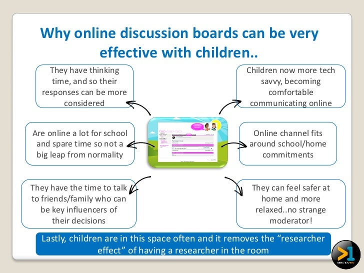Why online discussion boards can be very          effective with children..     They have thinking                        ...