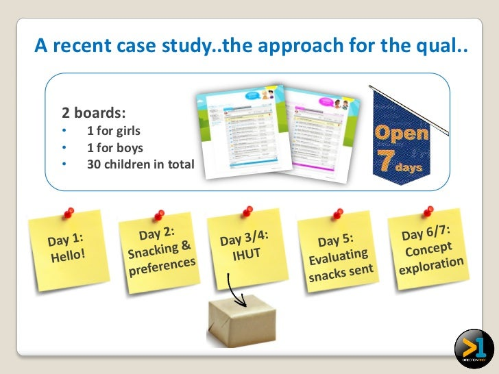 A recent case study..the approach for the qual..   2 boards:   •   1 for girls   •   1 for boys   •   30 children in total