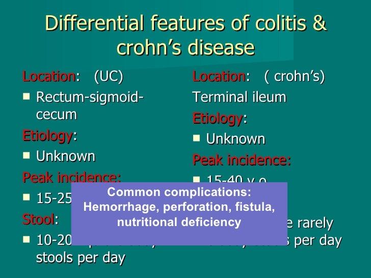 Differential features of colitis & crohn's disease <ul><li>Location :  (UC) </li></ul><ul><li>Rectum-sigmoid-cecum </li></...