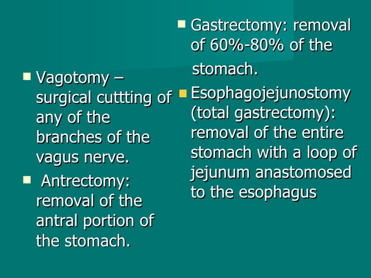 <ul><li>Vagotomy – surgical cuttting of any of the branches of the vagus nerve. </li></ul><ul><li>Antrectomy: removal of t...