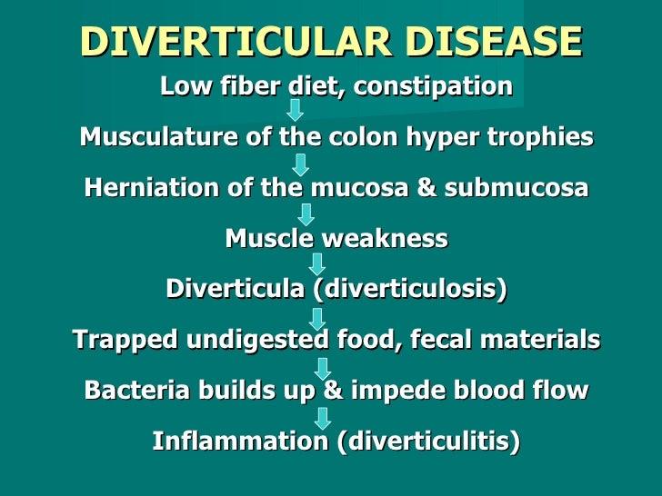 DIVERTICULAR DISEASE <ul><li>Low fiber diet, constipation </li></ul><ul><li>Musculature of the colon hyper trophies </li><...