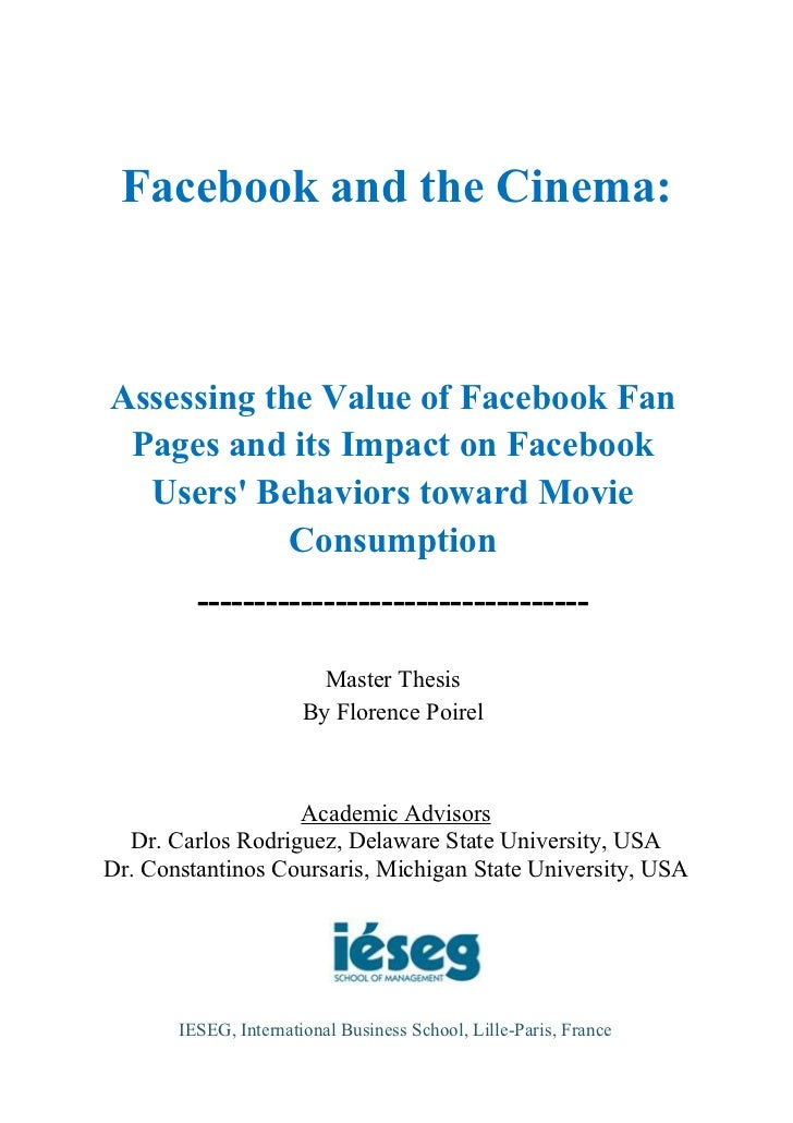 Facebook and the Cinema:Assessing the Value of Facebook Fan Pages and its Impact on Facebook  Users Behaviors toward Movie...