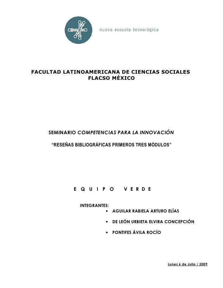 FACULTAD LATINOAMERICANA DE CIENCIAS SOCIALES                 FLACSO MÉXICO         SEMINARIO COMPETENCIAS PARA LA INNOVAC...