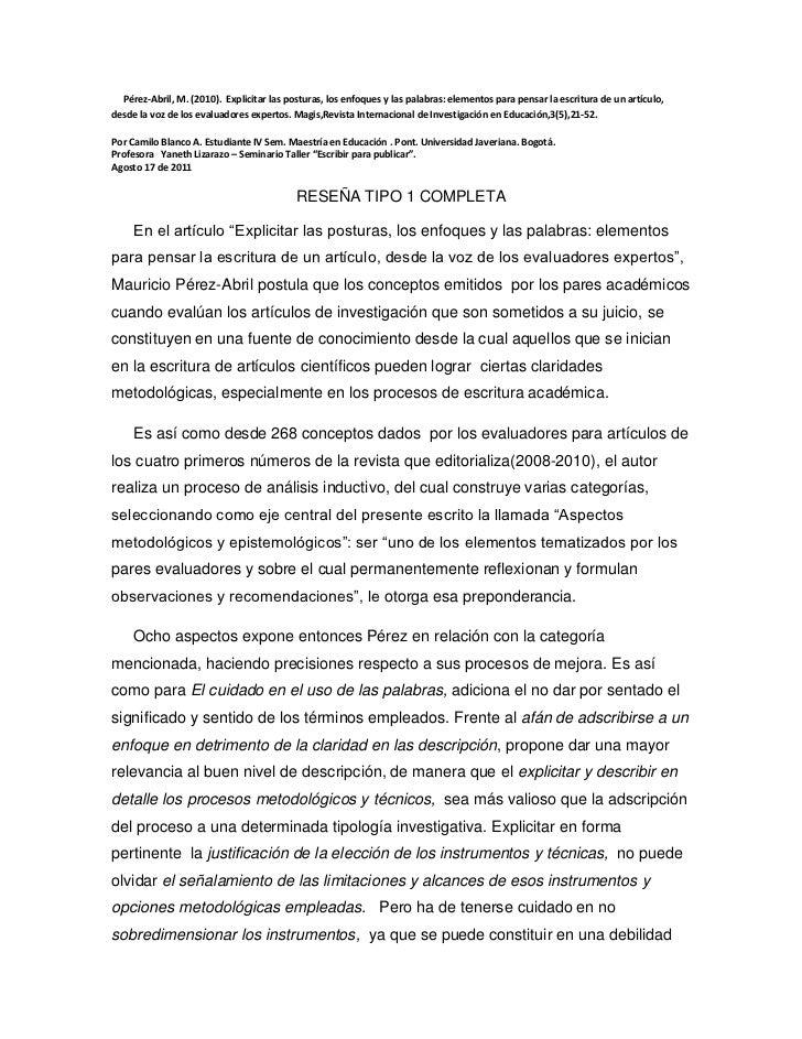 Pérez-Abril, M. (2010).  Explicitar las posturas, los enfoques y las palabras: elementos para pensar la escritura de ...