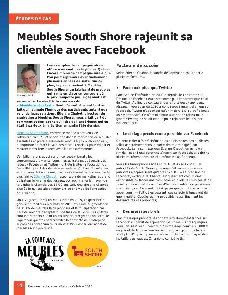 ÉTUDES DE CAS    Meubles South Shore rajeunit sa clientèle avec Facebook                      Les exemples de campagne vir...