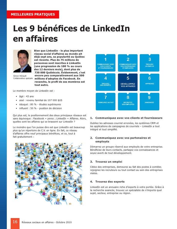 MEILLEURES PRATIQUES    Les 9 bénéfices de LinkedIn en affaires                           Bien que LinkedIn - le plus impo...