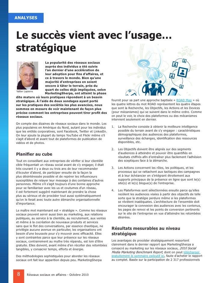 ANALYSES    Le succès vient avec l'usage… stratégique                    La popularité des réseaux sociaux                ...