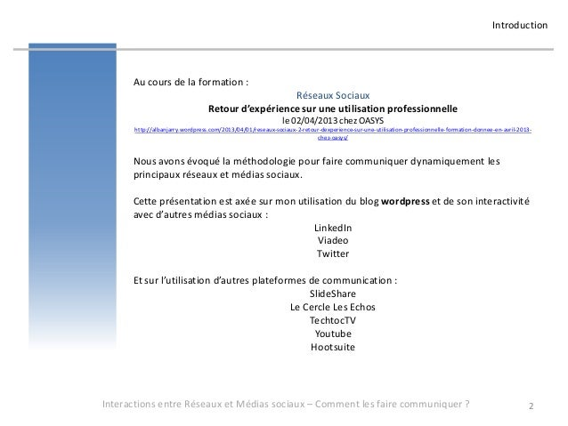 Introduction      Au cours de la formation :                                                   Réseaux Sociaux            ...