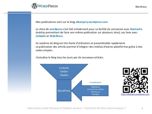 Wordress      Mes publications sont sur le blog albanjarry.wordpress.com      Le choix de wordpress s'est fait initialemen...