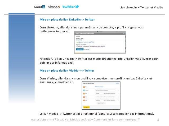 Lien Linkedin – Twitter et Viadéo      Mise en place du lien Linkedin -> Twitter      Dans Linkedin, aller dans les « para...