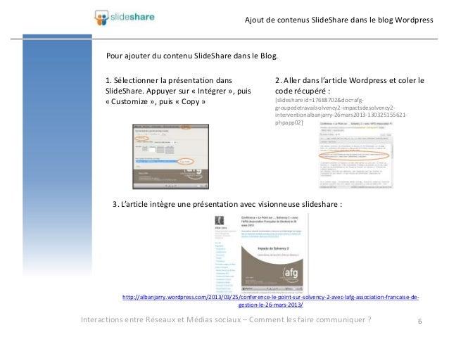 Ajout de contenus SlideShare dans le blog Wordpress      Pour ajouter du contenu SlideShare dans le Blog.      1. Sélectio...