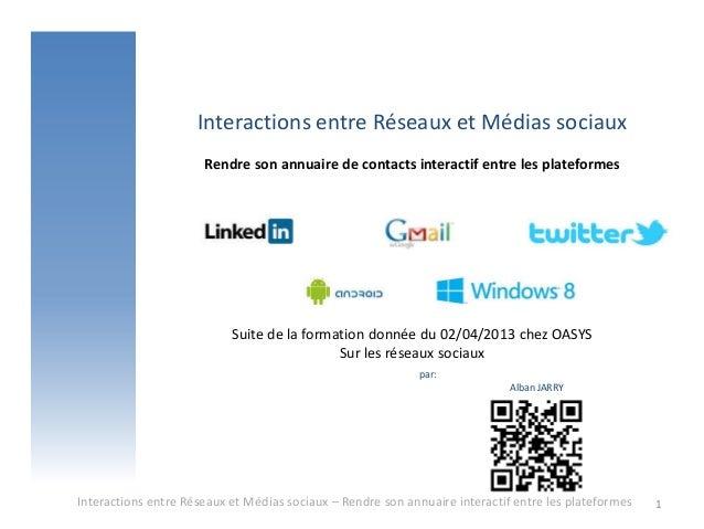 Interactions entre Réseaux et Médias sociaux                      Rendre son annuaire de contacts interactif entre les pla...