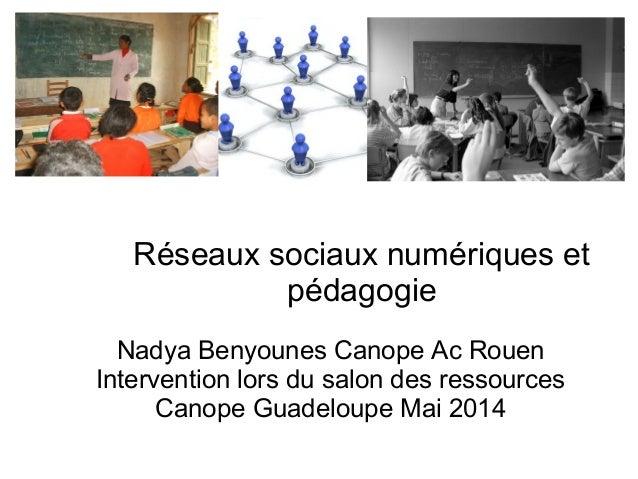 Réseaux sociaux numériques et  pédagogie  Nadya Benyounes Canope Ac Rouen  Intervention lors du salon des ressources  Cano...