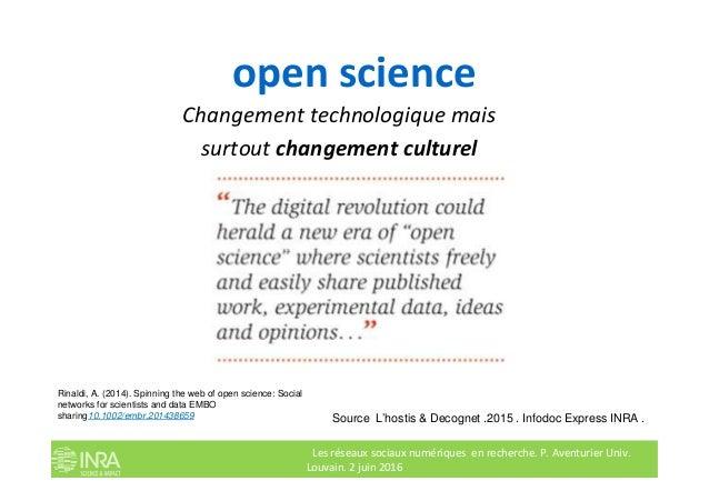 open science Changement technologique mais surtout changement culturel Les réseaux sociaux numériques en recherche. P. Ave...