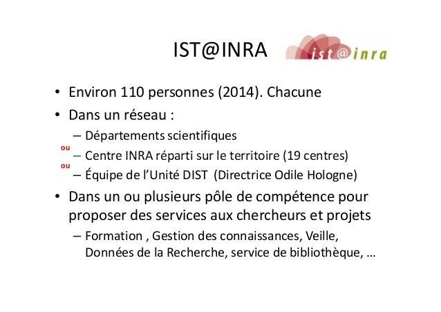 IST@INRA • Environ 110 personnes (2014). Chacune • Dans un réseau : – Départements scientifiques – Centre INRA réparti sur...