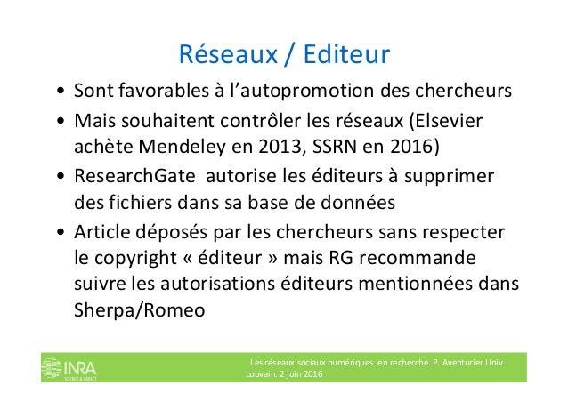 Réseaux / Editeur • Sont favorables à l'autopromotion des chercheurs • Mais souhaitent contrôler les réseaux (Elsevier ach...