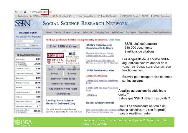 Les dirigeants de la société SSRN arguent que cela va donner de la valeur au réseau sans changer son SSRN 300 000 auteurs ...