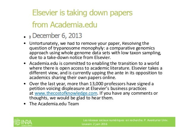 Elsevier takes down • Hi Guy • Unfortunately, we had to remove your paper, Resolving the question of trypanosome monophyly...