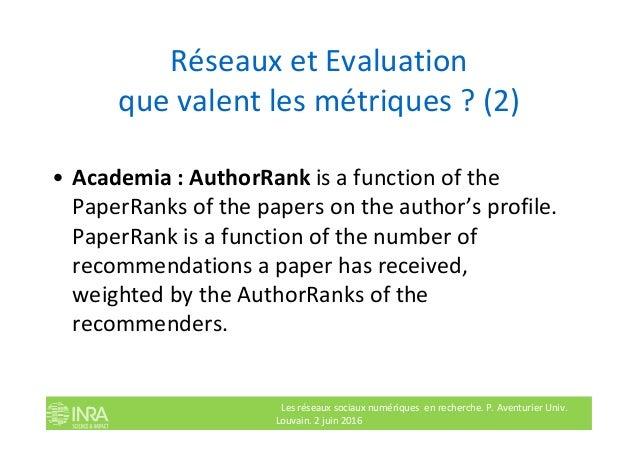 Réseaux et Evaluation que valent les métriques ? (2) • Academia : AuthorRank is a function of the PaperRanks of the papers...