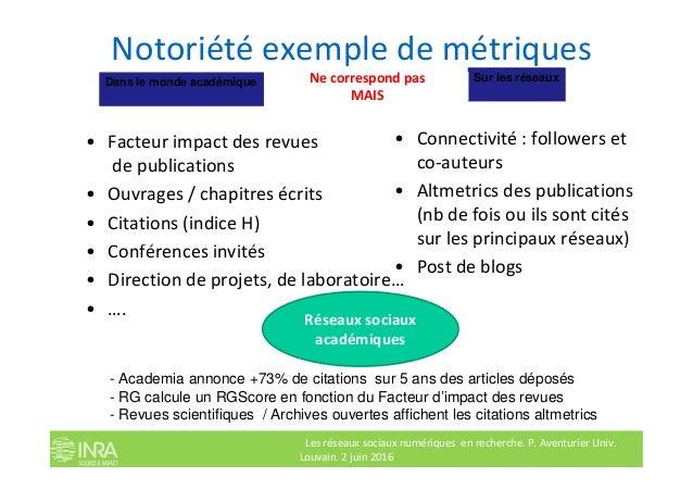 Notoriété exemple de métriques • Facteur impact des revues de publications • Ouvrages / chapitres écrits • Citations (indi...