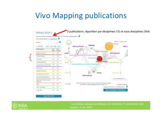 Vivo Mapping publications 3 publications ,répartition par disciplines (13) et sous disciplines (554) Les réseaux sociaux n...