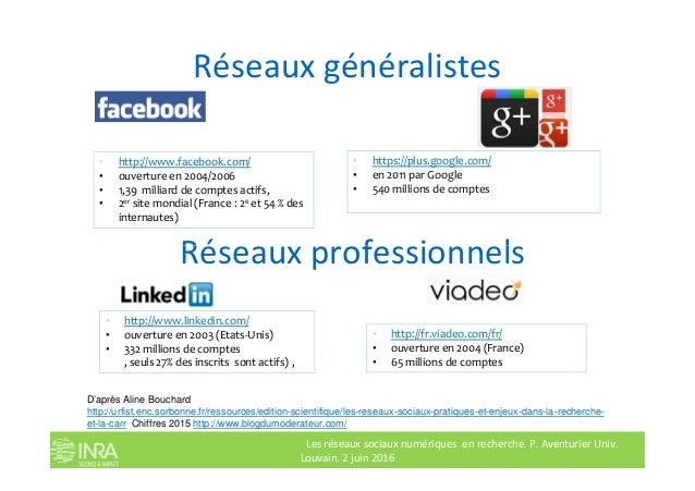 Réseaux généralistes • http://www.facebook.com/ • ouverture en 2004/2006 • 1,39 milliard de comptes actifs, • 2er site mon...