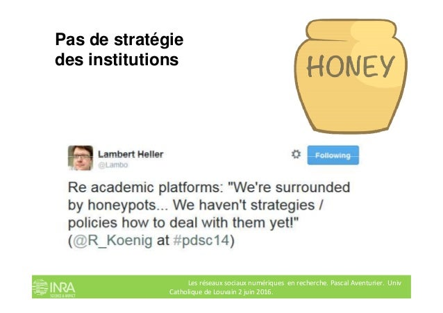 Pas de stratégie des institutions Les réseaux sociaux numériques en recherche. Pascal Aventurier. Univ Catholique de Louva...