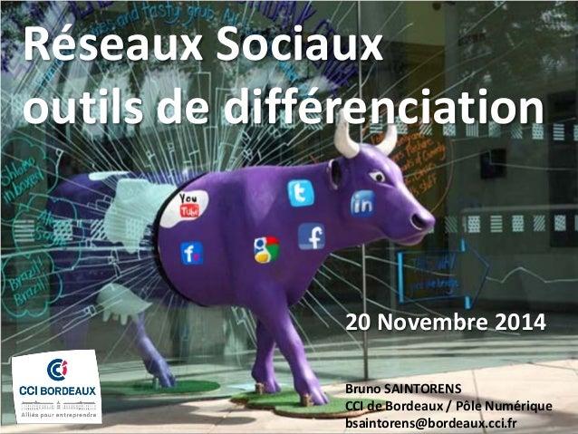 Réseaux Sociaux outils de différenciation  20 Novembre 2014  Bruno SAINTORENS CCI de Bordeaux / Pôle Numérique bsaintorens...
