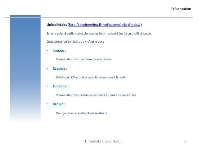 Reseaux sociaux professionnels - Linkedinlabs : Inmaps Resume Timeline Dropin Signal Slide 2