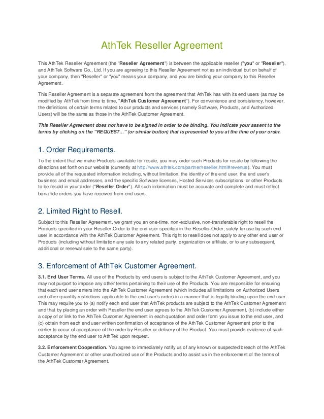 Athtek Reseller Agreement Template