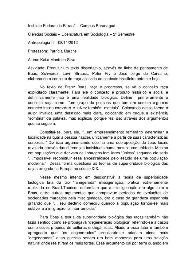 Instituto Federal do Paraná – Campus ParanaguáCiências Sociais – Licenciatura em Sociologia – 2º SemestreAntropologia II –...