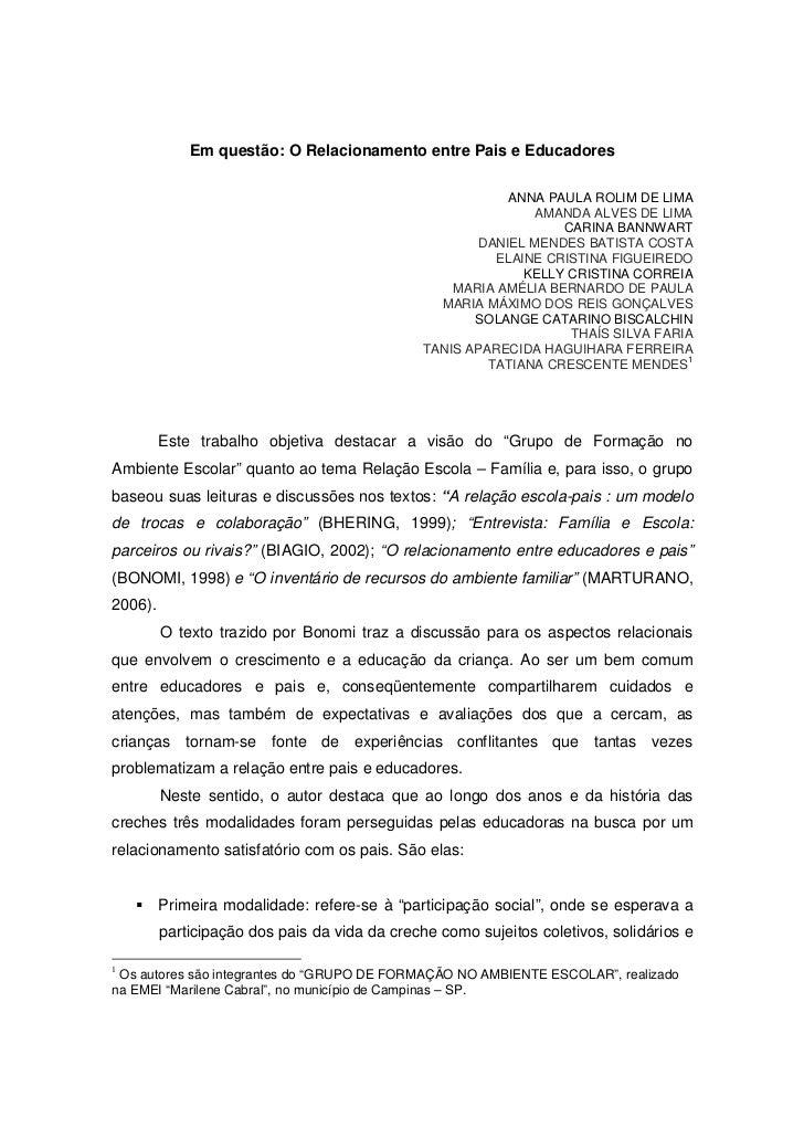 Em questão: O Relacionamento entre Pais e Educadores                                                           ANNA PAULA ...
