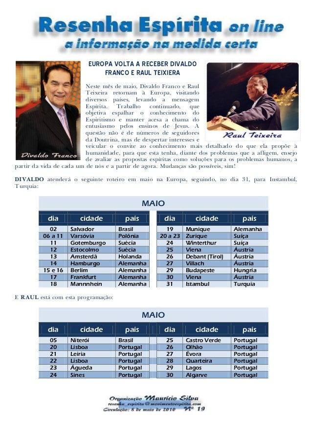 EUROPA VOLTA A RECEBER DIVALDO FRANCO E RAUL TEIXIERA Neste mês de maio, Divaldo Franco e Raul Teixeira retornam à Europa,...