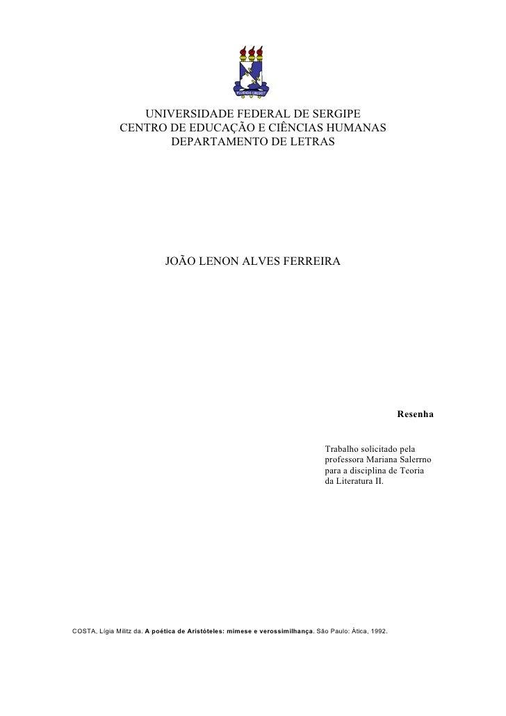 UNIVERSIDADE FEDERAL DE SERGIPE              CENTRO DE EDUCAÇÃO E CIÊNCIAS HUMANAS                     DEPARTAMENTO DE LET...