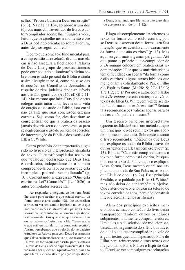 """Resenha crítica do livro A Divindade / 91 selho: """"Procure buscar a Deus em oração"""" (p. 3). Na página 104, ao abordar um do..."""