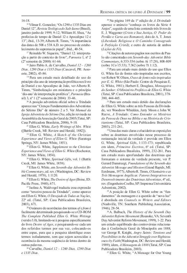 """Resenha crítica do livro A Divindade / 99 16-18. 16 Vilmar E. Gonzalez, """"Os 1290 e 1335 Dias em Daniel 12"""", Revista Teológ..."""