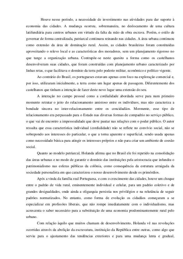 Resenha critica do livro raizes do brasil Slide 3