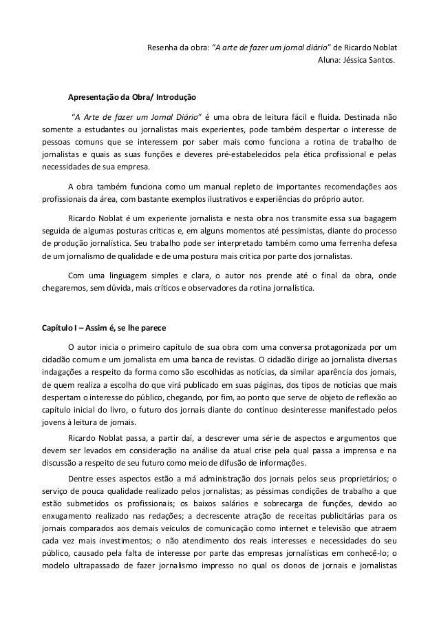 """Resenha da obra: """"A arte de fazer um jornal diário"""" de Ricardo Noblat                                                     ..."""